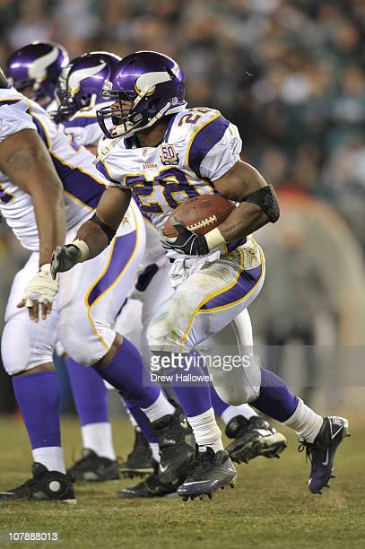 Running back Adrian Peterson of the Minnesota Vikings in action during the game against the Philadelphia Eagles at Lincoln Financial Field on...