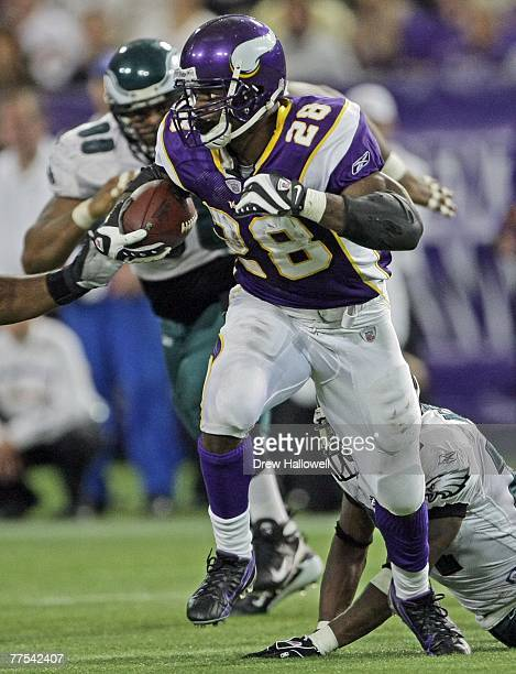 Running back Adrian Peterson of the Minnesota Vikings runs with the ball during the game against the Philadelphia Eagles on October 28 2007 at the...
