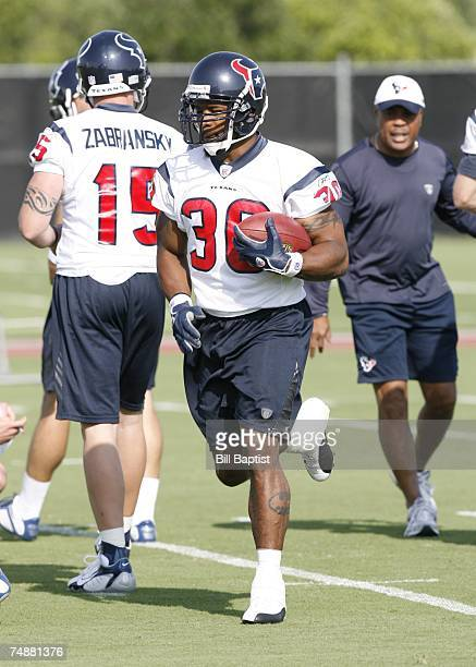 Running back Ahman Green of the Houston Texans runs the ball during the teams OTA's at their training facility on June 4, 2007 in Houston, Texas.