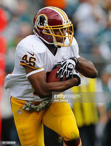 Running back Alfred Morris of the Washington Redskins looks to run during a game against the Philadelphia Eagles at Lincoln Financial Field on...