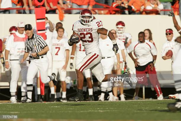 Running back Allen Patrick of the Oklahoma Sooners sprints to a touchdown against the Oklahoma State Cowboys on November 25 2006 at Boone Pickens...