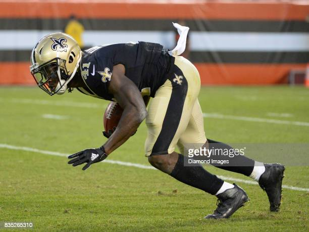 Running back Alvin Kamara of the New Orleans Saints returns a punt in the first quarter of a preseason game on August 10 2017 against the Cleveland...