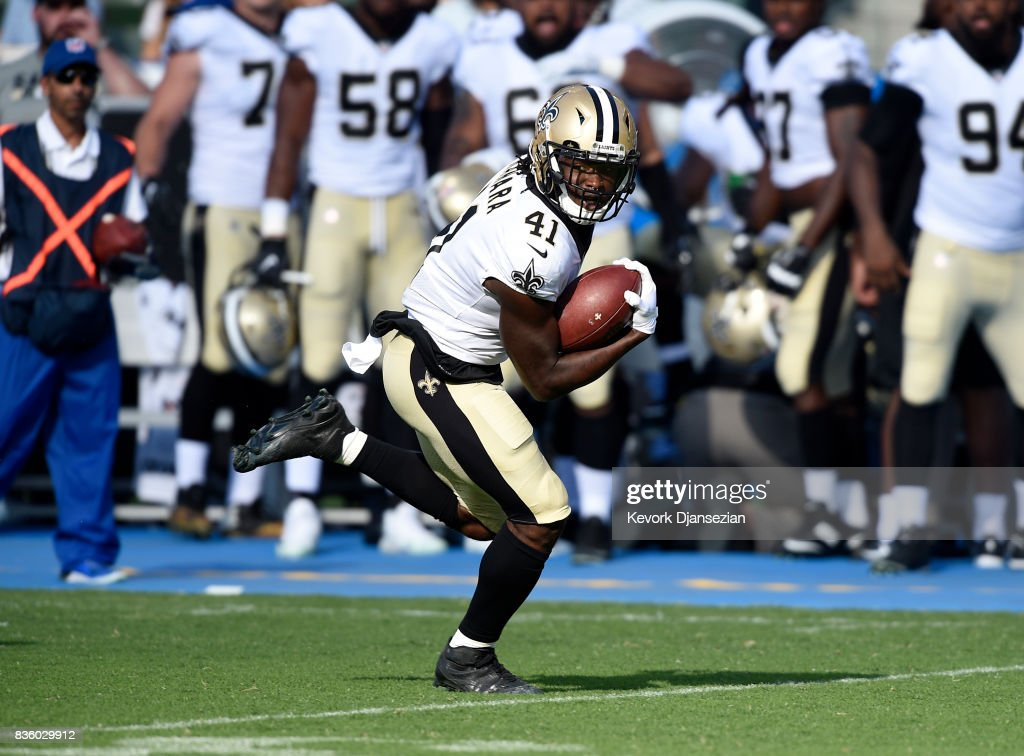 Running back Alvin Kamara #41 of the New Orleans Saints rushes for a touchdown against the Los Angeles Chargers during the first half of a preseason football game at the StubHub Center August 20, 2017, in Carson, California.