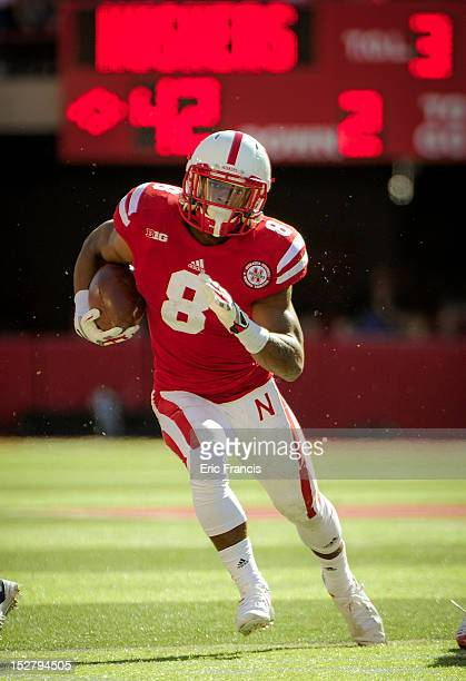 Running back Ameer Abdullah of the Nebraska Cornhuskers heads for the end zone against the Idaho State Bengal during their game at Memorial Stadium...