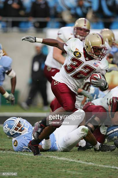 Running back Andre Callender of the Boston College Golden Eagles carries the ball against the University of North Carolina at Chapel Hill Tar Heels...