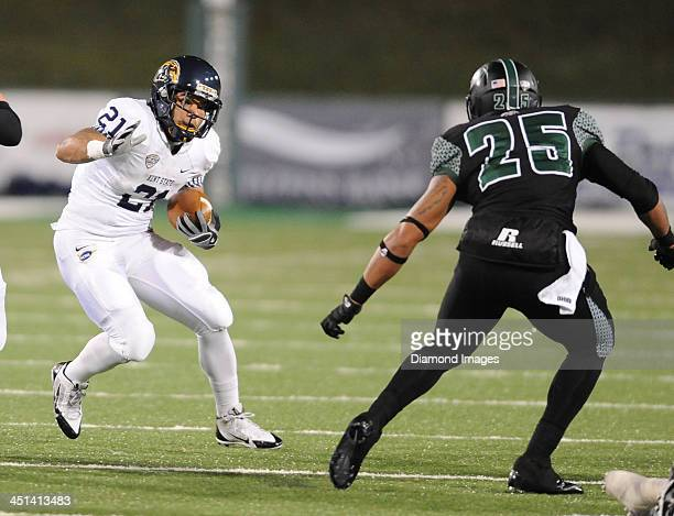 Running back Anthony Meray of the Kent State Golden Flashes runs the football during a game against the Ohio Bobcats at Peden Stadium in Athens Ohio...