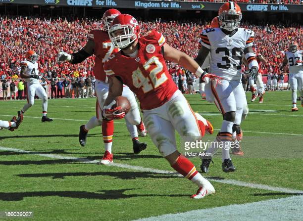 Running back Anthony Sherman of the Kansas City Chiefs rushes in for a 12yard touchdown against the Cleveland Browns during the first half on October...