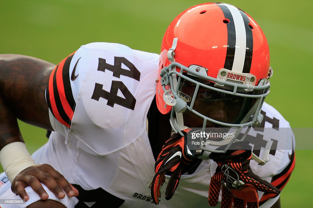 Running back Ben Tate #44 of the Cleveland Browns warms up during a preseason game against the Washington Redskins at FedExField on August 18, 2014 in Landover, Maryland.