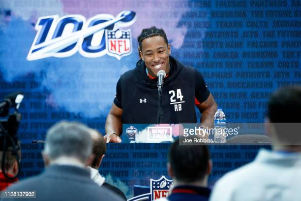 Running back Benny Snell Jr. Of Kentucky speaks to the media during day one of interviews at the NFL Combine at Lucas Oil Stadium on February 28,...