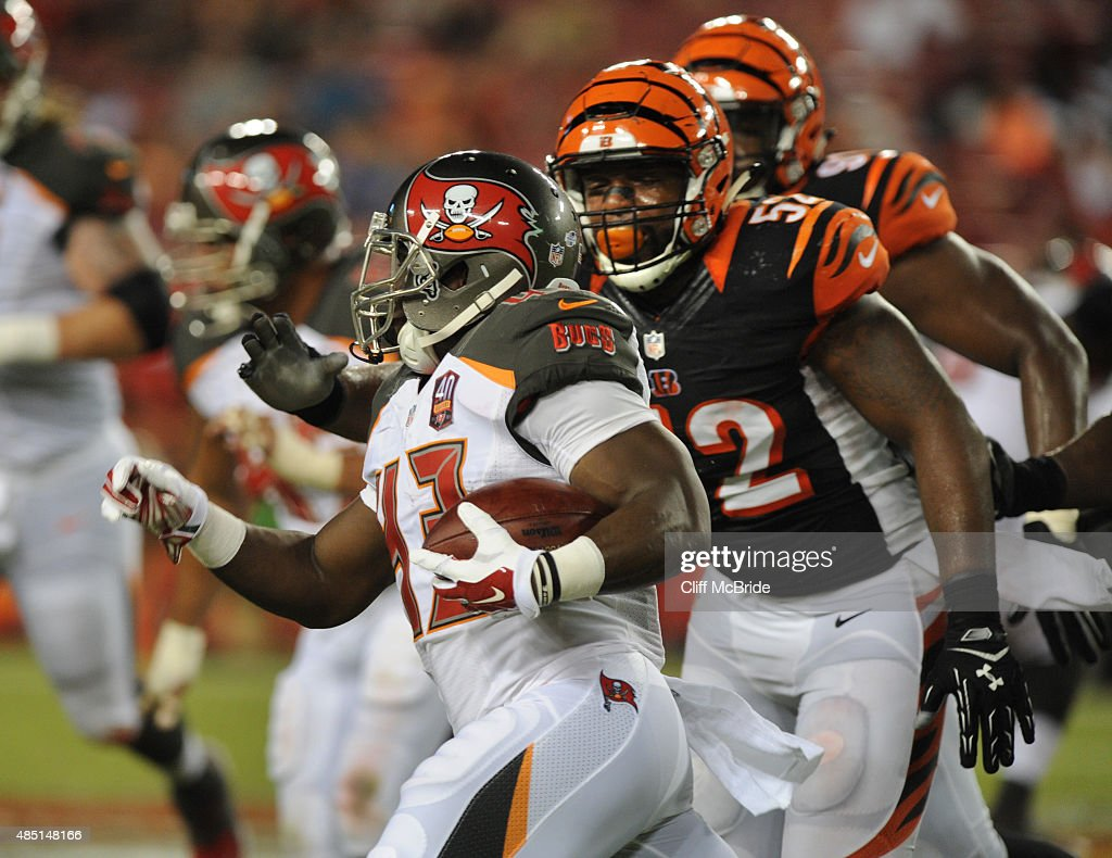 Running back Bobby Rainey #43 of the Tampa Bay Buccaneers runs against the Cincinnati Bengals in the fourth quarter Raymond James Stadium in preseason action on August 24, 2015 in Tampa, Florida.