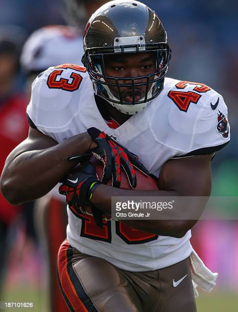 Running back Bobby Rainey of the Tampa Bay Buccaneers warms up prior to the game against the Seattle Seahawks at CenturyLink Field on November 3 2013...