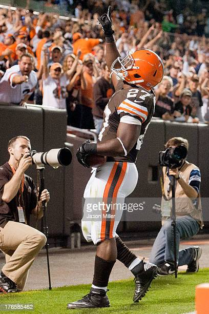 Running back Brandon Jackson of the Cleveland Browns celebrates after scoring a touchdown during the second half against the Detroit Lions of a...