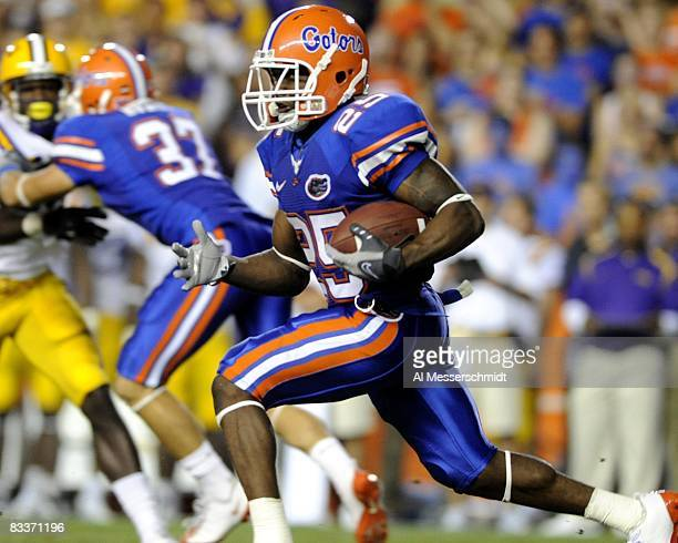 Running back Brandon James of the Florida Gators rushes upfield against the LSU Tigers at Ben Hill Griffin Stadium on October 11, 2008 in...