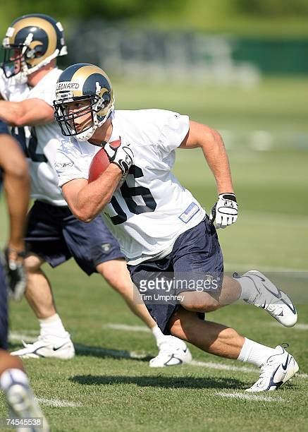 Running back Brian Leonard of the St. Louis Rams runs down field at the St. Louis Rams Mini-Camp on May 12, 2007 at the St. Louis Rams Training...