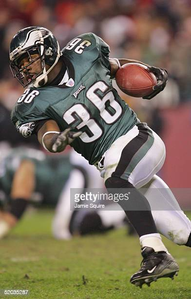 Running back Brian Westbrook of the Philadelphia Eagles carries the ball against the Washington Redskins during the game at Fed Ex Field on December...
