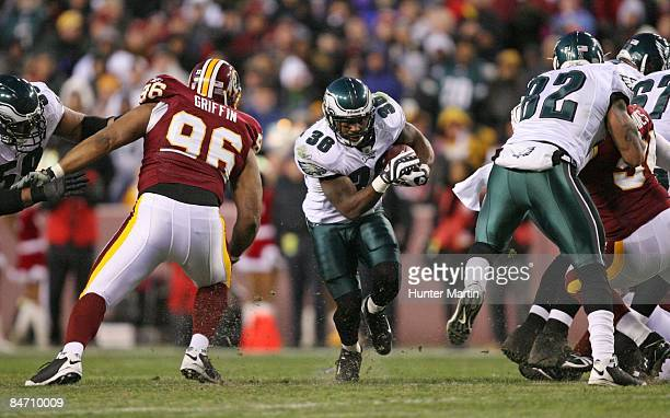 Running back Brian Westbrook of the Philadelphia Eagles carries the ball during a game against the Washington Redskins on December 21, 2008 at FedEx...