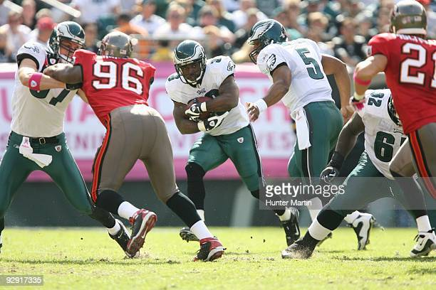 Running back Brian Westbrook of the Philadelphia Eagles carries the ball during a game against the Tampa Bay Buccaneers on October 11 2009 at Lincoln...