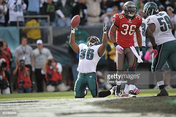Running back Brian Westbrook of the Philadelphia Eagles celebrates a touchdown during the game against the Tampa Bay Buccaneers on October 11 2009 at...