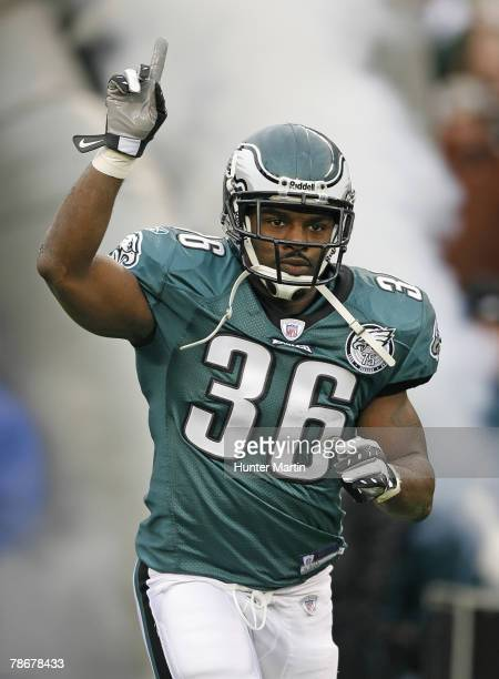 Running back Brian Westbrook of the Philadelphia Eagles runs onto the field after being introduced before a game against the Buffalo Bills on...
