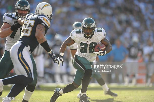 Running back Brian Westbrook of the Philadelphia Eagles runs the ball during the game against the San Diego Chargers on November 15 2009 at Qualcomm...
