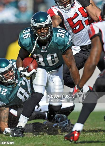 Running back Brian Westbrook of the Philadelphia Eagles runs with the ball during the game against the Atlanta Falcons on October 26, 2008 at Lincoln...