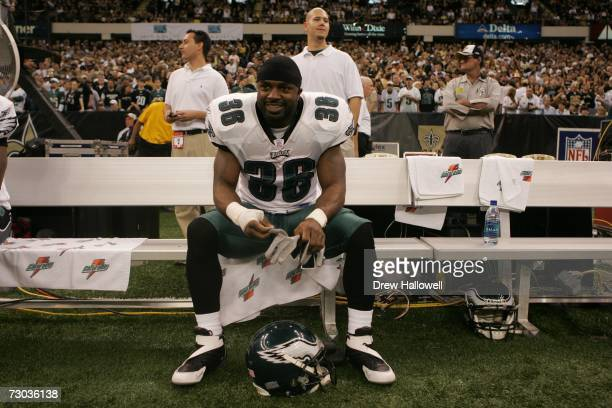 Running back Brian Westbrook of the Philadelphia Eagles sits on the bench during the game against the New Orleans Saints on January 13 2007 at the...