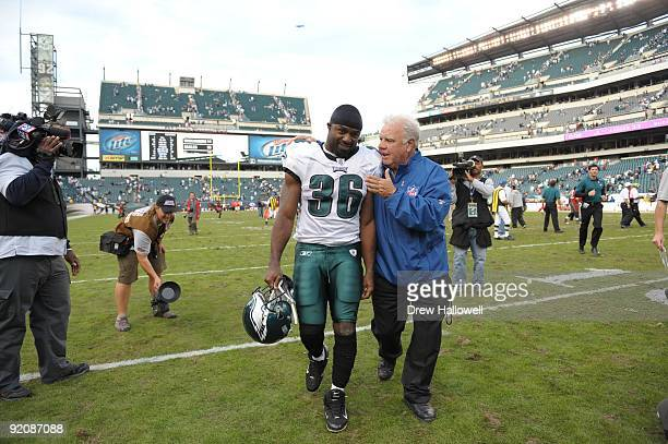 Running back Brian Westbrook of the Philadelphia Eagles walks off the field after the game against the Tampa Bay Buccaneers on October 11 2009 at...