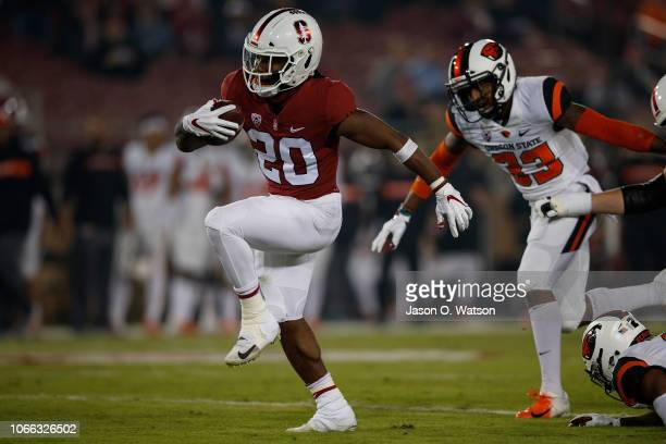 Running back Bryce Love of the Stanford Cardinal rushes up field for a 28 yard touchdown against the Oregon State Beavers during the first quarter at...