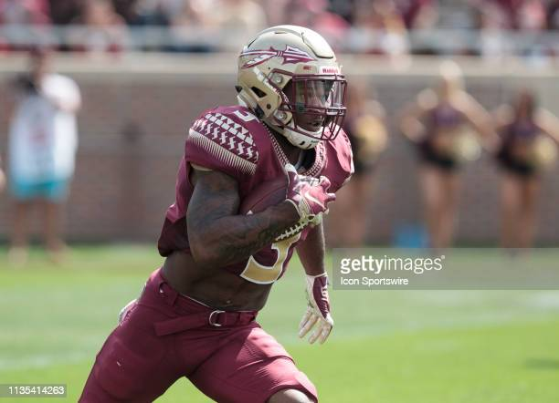 Running back Cam Akers runs with the ball during the Florida State Garnet vs Gold Spring Game at Bobby Bowden Field at Doak Campbell in Tallahassee...