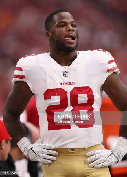 Running back Carlos Hyde of the San Francisco 49ers on the sidelines during the NFL game against the Arizona Cardinals at the University of Phoenix...