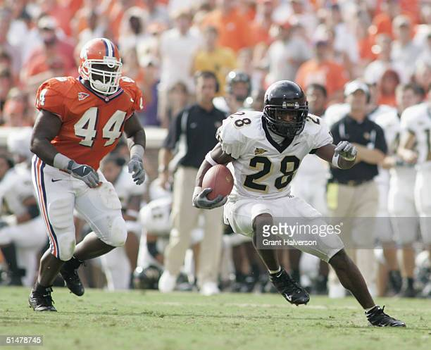 Running back Chris Barclay of the Wake Forest Demon Deacons runs the ball during an Atlantic Coast Conference game against the Clemson University...