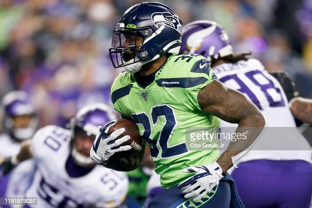 Running back Chris Carson of the Seattle Seahawks carries the ball during the game against the Minnesota Vikings at CenturyLink Field on December 02,...