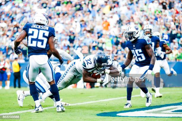 Running Back Chris Carson of the Seattle Seahawks runs the ball to score against the Tennessee Titans at Nissan Stadium on September 24 2017 in...