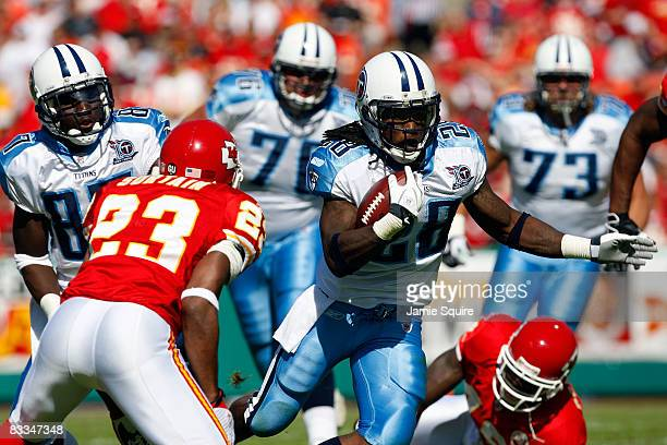 Running back Chris Johnson of the Tennessee Titans carries the ball during the game against the Kansas City Chiefs on October 19 2008 at Arrowhead...
