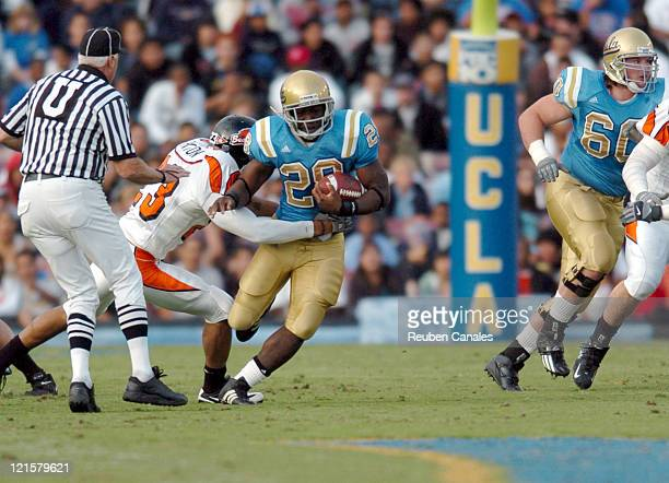 Running back Chris Markey of the UCLA Bruins runs upfield in a 25 to 7 victory over the Oregon State Beavers on November 11 2006 at the Rose Bowl in...
