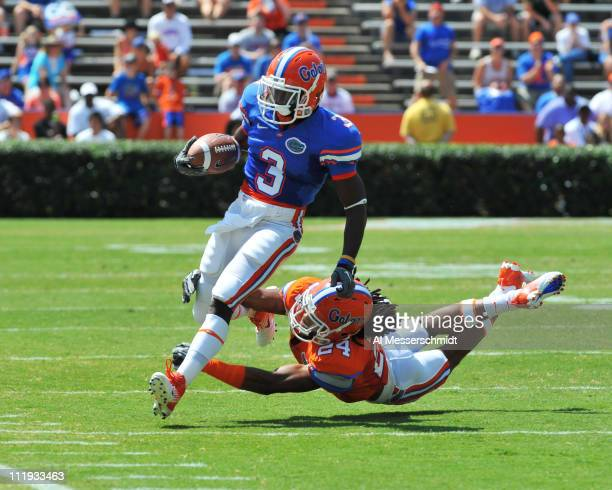 Running back Chris Rainey of the Florida Gators runs upfield during the Orange and Blue spring football game April 9, 2010 Ben Hill Griffin Stadium...