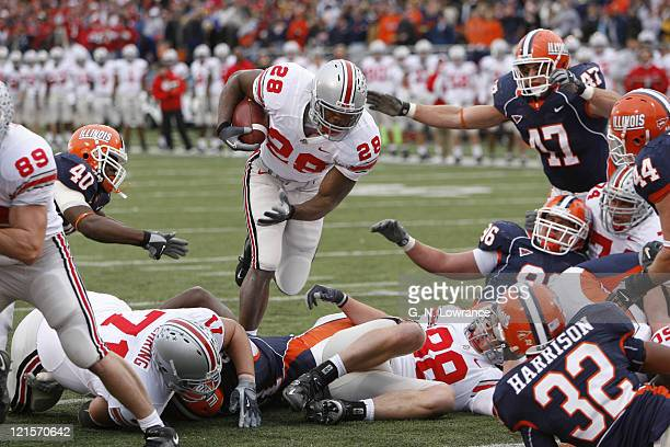 Running back Chris Wells of Ohio State runs in for a touchdown during action between the Ohio State Buckeyes and Illinois Fighting Illini at Memorial...