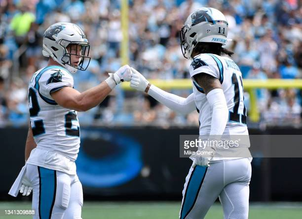 Running back Christian McCaffrey and wide receiver Robby Anderson of the Carolina Panthers in the game against the New Orleans Saints at Bank of...