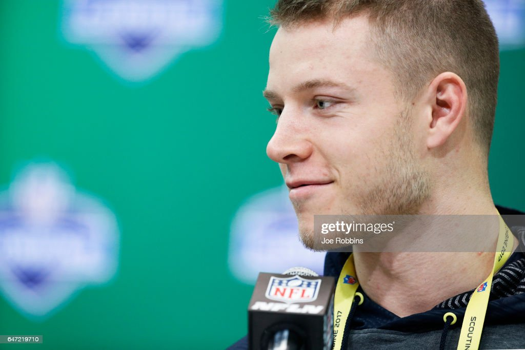 Running back Christian McCaffrey of Stanford answers questions from the media on Day 2 of the NFL Combine at the Indiana Convention Center on March 2, 2017 in Indianapolis, Indiana.