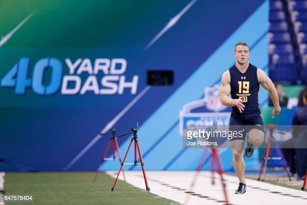 Running back Christian McCaffrey of Stanford runs the 40yard dash during the NFL Combine at Lucas Oil Stadium on March 3 2017 in Indianapolis Indiana