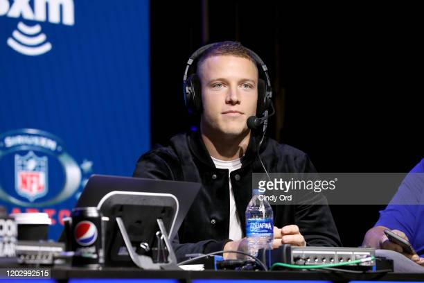 NFL running back Christian McCaffrey of the Carolina Panthers speaks onstage during day 2 of SiriusXM at Super Bowl LIV on January 30 2020 in Miami...