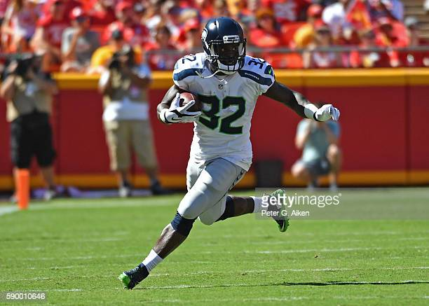 Running back Christine Michael of the Seattle Seahawks runs up field against the Kansas City Chiefs during the first half on August 13 2016 at...