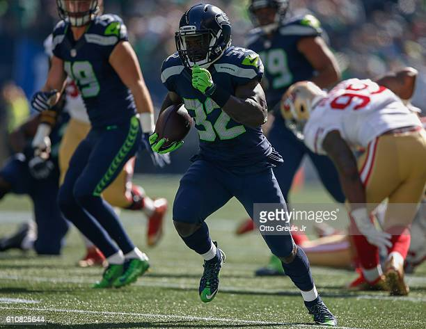 Running back Christine Michael of the Seattle Seahawks rushes against the San Francisco 49ers at CenturyLink Field on September 25 2016 in Seattle...
