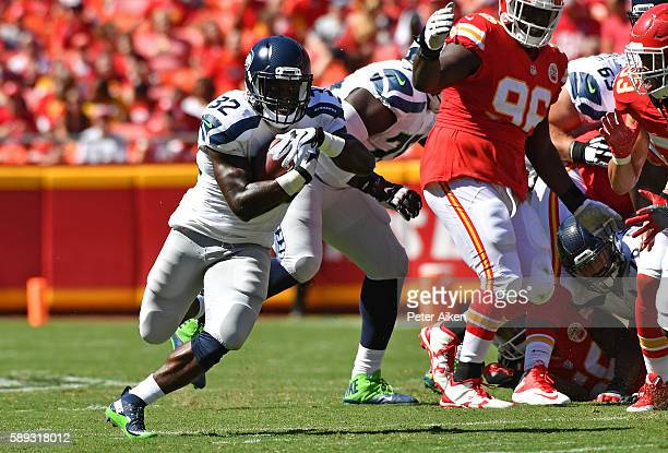 Running back Christine Michael of the Seattle Seahawks rushes up field against the Kansas City Chiefs during the first half on August 13 2016 at...