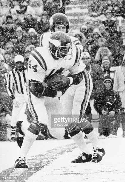 Running back Chuck Foreman of the Minnesota Vikings recieves the hand off from quarterback Fran Tarkenton during a game on December 21 1975 in...