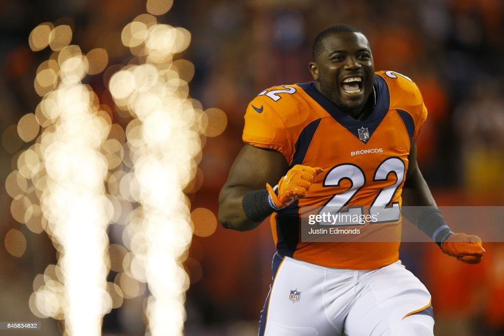 Running back C.J. Anderson #22 of the Denver Broncos is introduced to the game abasing the Los Angeles Chargers at Sports Authority Field at Mile High on September 11, 2017 in Denver, Colorado.