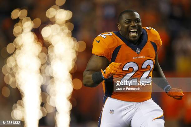 Running back CJ Anderson of the Denver Broncos is introduced to the game abasing the Los Angeles Chargers at Sports Authority Field at Mile High on...