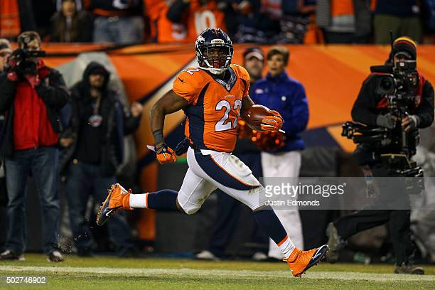 Running back CJ Anderson of the Denver Broncos rushes for a 39 yard fourth quarter goahead touchdown during a game at Sports Authority Field at Mile...