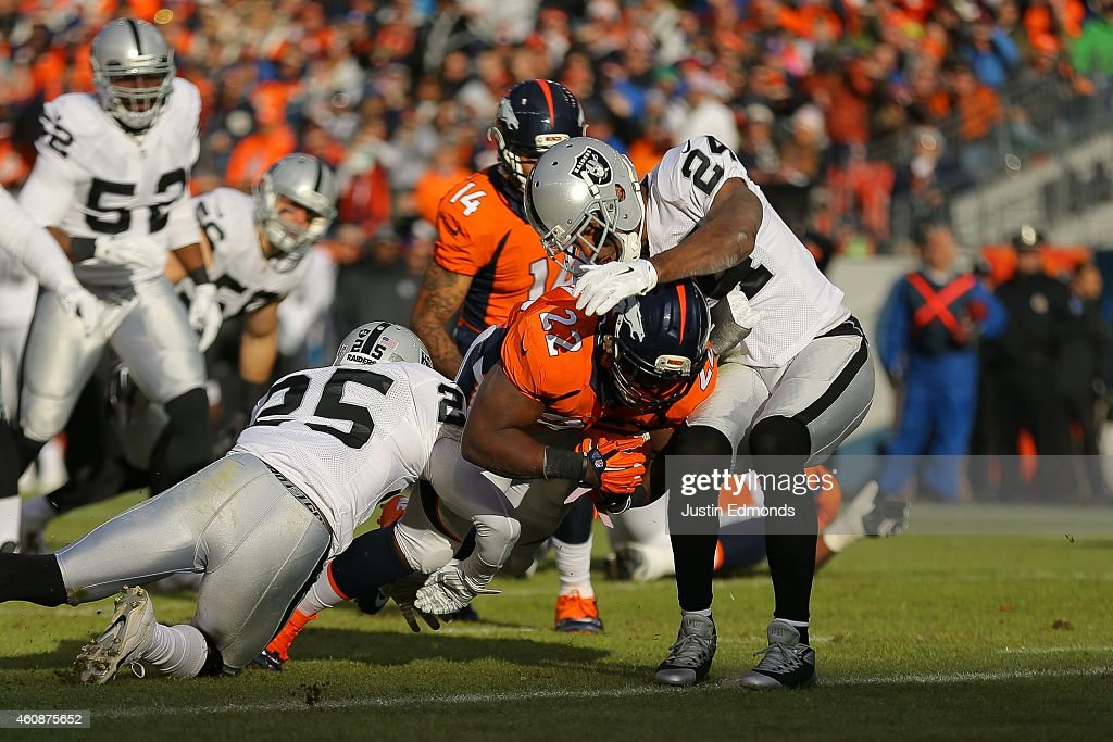 Running back C.J. Anderson #22 of the Denver Broncos scores a first quarter touchdown after an 11 yard rush against the Oakland Raiders at Sports Authority Field at Mile High on December 28, 2014 in Denver, Colorado.