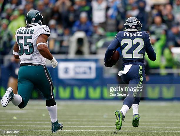 Running back CJ Prosise of the Seattle Seahawks pulls away on his touchdown run against the Philadelphia Eagles at CenturyLink Field on November 20...